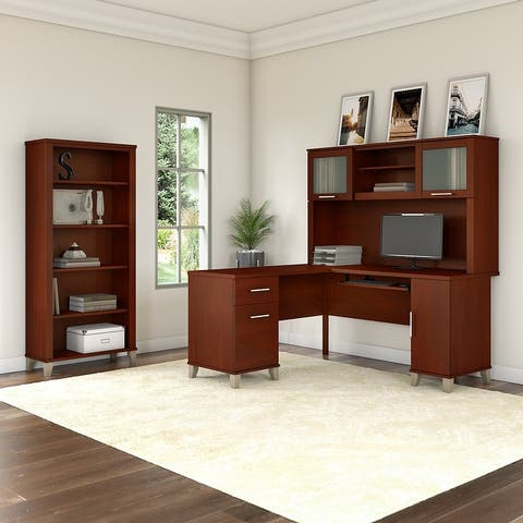 Copper Grove Shumen Ash Grey 60-inch L-shaped Desk with Bookcase