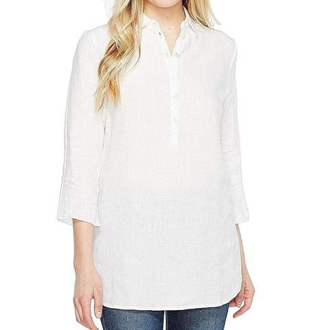 Three Dots Womens Collared Blouse White Size Small S Henley Split-Back