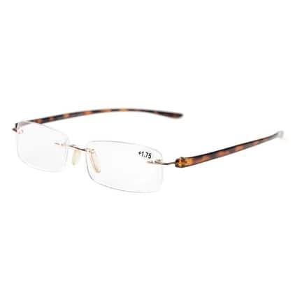 Eyekepper Readers Small Lenes Rimless Reading Glasses Tortoise Arm +1.25