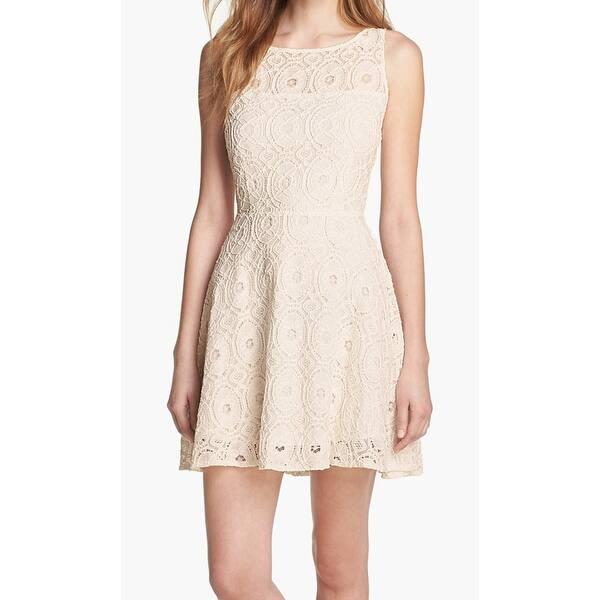 Bb Dakota White Ivory Womens Size 8 Fit N Flare Lace Sheath Dress