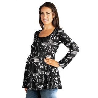 24seven Comfort Apparel Long Sleeve Maternity Tunic Top