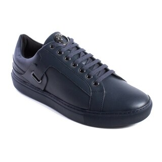 Versace Collection Men's Leather Medusa Logo Low Top Sneaker Shoes Tonal Navy Blue