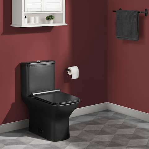 Carre One Piece Square Toilet Dual Flush in Matte Black 0.8/1.28 gpf