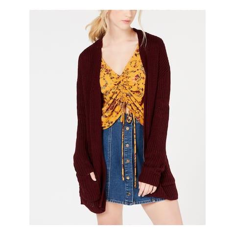 HOOKED UP Womens Purple Open Cardigan Sweater Juniors Size: L