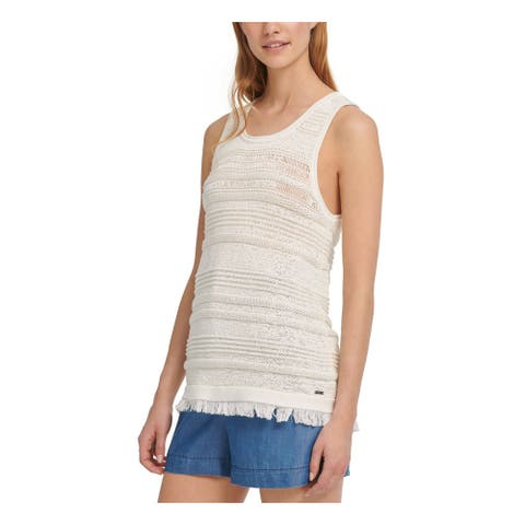 DKNY Womens Ivory Fringed Sleeveless Scoop Neck Sweater Size S