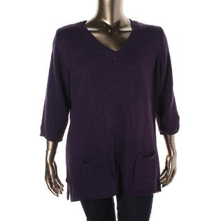 Karen Scott Womens Plus Knit V-Neck Pullover Sweater