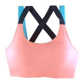 Women Sports Gym Fitness Yoga Nylon Seamless Bra Padded Vest Shapewear Pink S