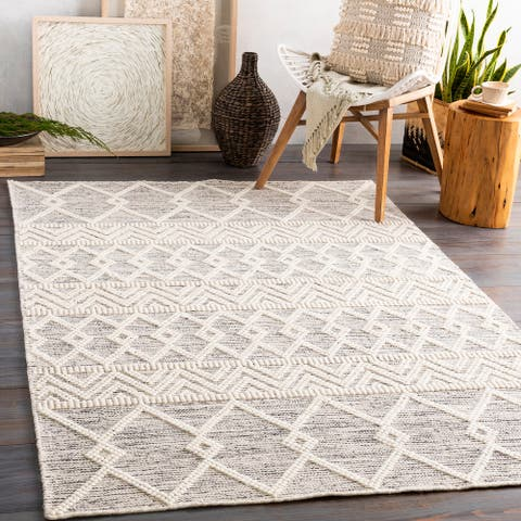 The Curated Nomad Bradrick Handmade Farmhouse Trellis Wool Area Rug