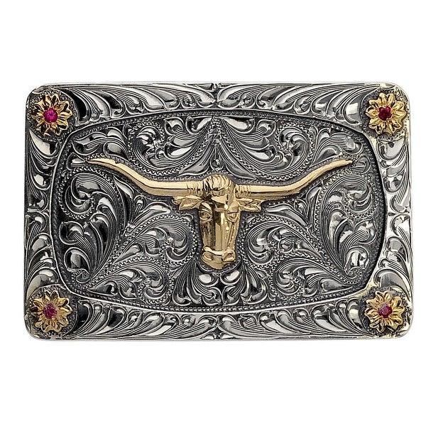 "Vogt Western Mens Trophy Buckle The Longhorn Mesa Silver - 2"" x 1 3/8"""