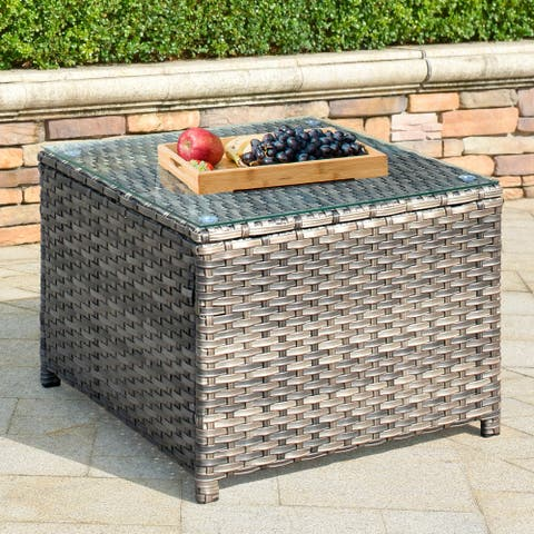OVIOS Patio Outdoor Wicker Coffee Table with Glass Top