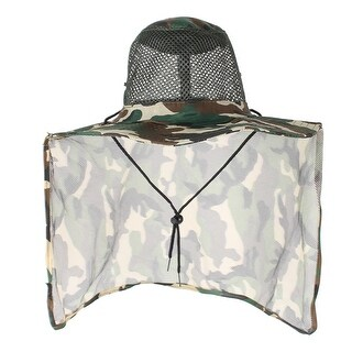 Unique Bargains Fishing Camping Camouflage Pattern Roll Up Brim Back Hood Nylon Hat Cap for Men
