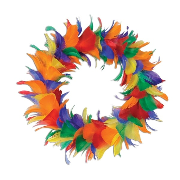 "Pack of 6 Rainbow Colored Decorative Feather Wreath 8"" - ORANGE"