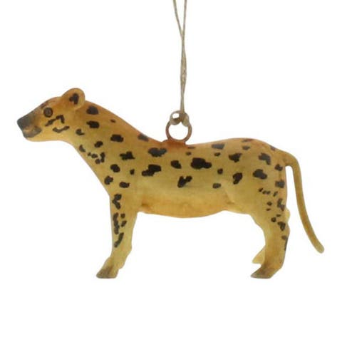 5 Inches Industrial Style Metal Cheetah Ornament, Black and Yellow