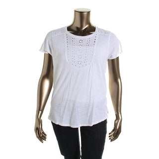 Lucky Brand Womens Cotton Eyelet Pullover Top
