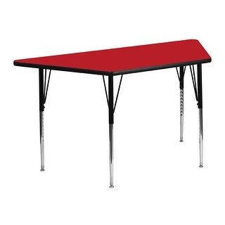 Offex 24''W x 48''L Trapezoid Activity Table with  High Pressure Red Laminate Top and Standard Height Adjustable Legs