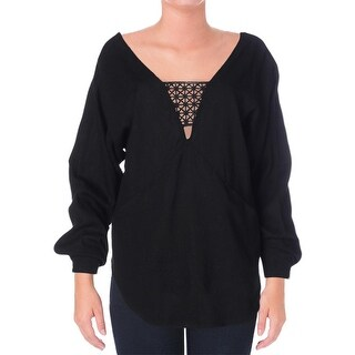 Free People Womens Linen Blend Crochet Trim Pullover Top