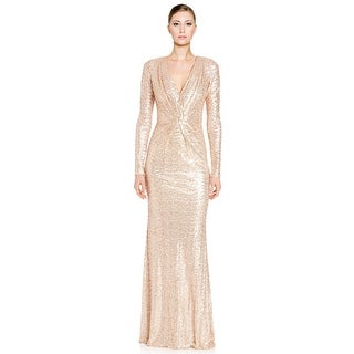 Badgley Mischka Sequined Long Sleeve V-Neck Evening Gown Dress