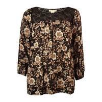 Denim & Supply Women's Floral Crochet Peasant Top - Brown - s