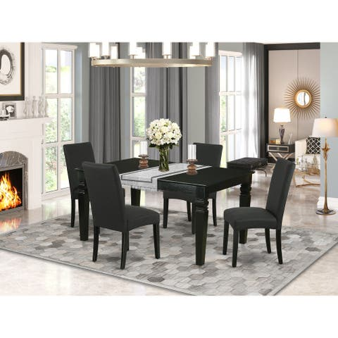 Rectangle 42/60 Inch Table and Parson Chairs in Black Linen Fabric (Number of Chairs Option)