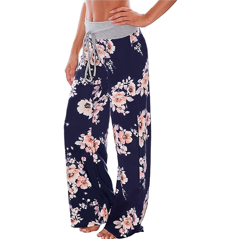 Womens Comfy Stretch Floral Print Drawstring Palazzo Wide Leg Lounge Pants GU