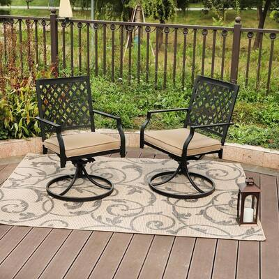 Phi Villa Outdoor Patio Swivel Chairs (Set of 2)