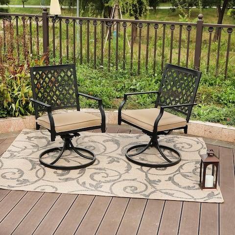 PHI VILLA Outdoor Patio Swivel Chair for Garden Backyard Furniture 2 Pcs Sets