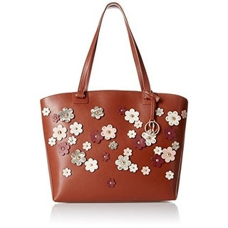 Nine West Womens Sheer Genius Tote Handbag Faux Leather Floral - Large
