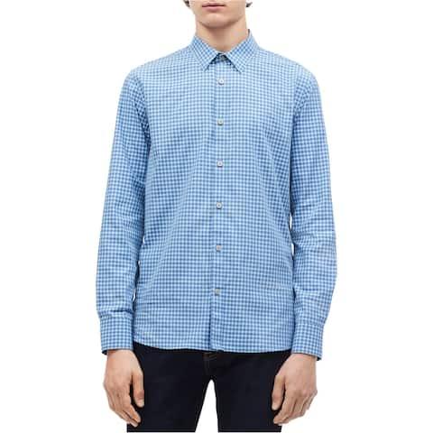 Calvin Klein Mens Gingham Button Up Shirt