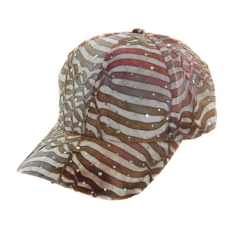 Womens White Striped Sparkle Fabric Cap