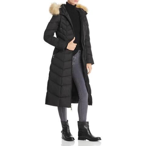 Tahari Jacqueline Quilted Faux Fur Trim Long Maxi Winter Puffer Coat