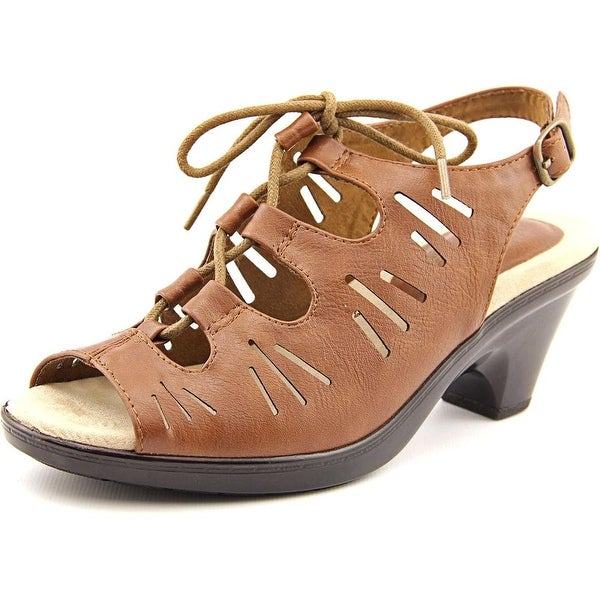 Easy Street Kitt Women WW Open-Toe Synthetic Brown Slingback Sandal