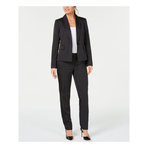 LE SUIT Womens Black Pinstripe Blazer Formal Pant Suit Size 14