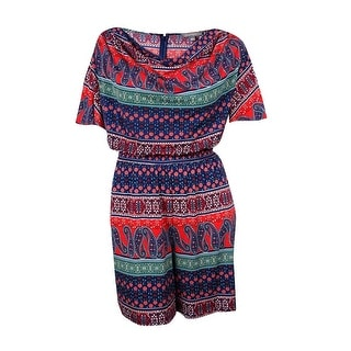 NY Collection Women's Chain-Trim Cowl Paisley Romper - 3x