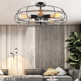"Link to CO-Z 19"" 5-Light Semi Flush Mount Industrial Matte Black Ceiling Light Similar Items in Flush Mount Lights"