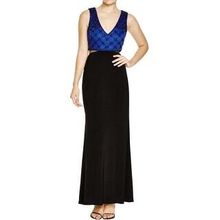 Aqua Womens Evening Dress Beaded Two Tone