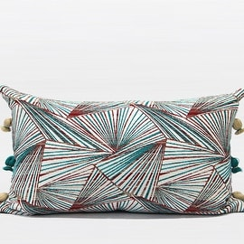 "G Home Collection Luxury Green Changing Geometric Pattern Tassels Pillow 12""X20"""