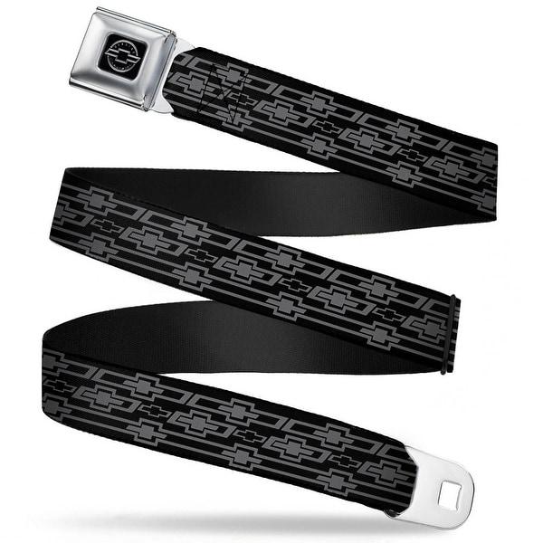 Chevy Retro Chevy Bowtie Monogram Black Gray Seatbelt Belt Fashion Belt