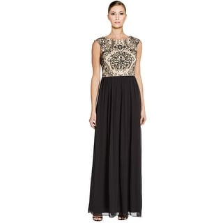 Adrianna Papell Beaded Two Tone Pleated A-Line Evening Gown Dress - 10