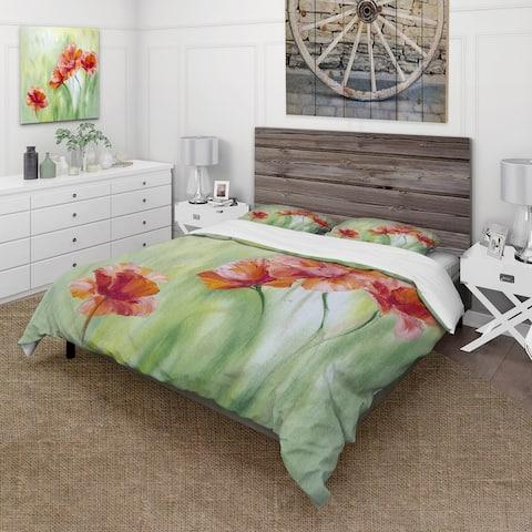 Designart 'Red Blossoming Poppies I' Traditional Duvet Cover Comforter Set
