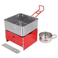 Sterno Camp Stove Kit With Frame and Wind-Shield Panels, Red-Gray