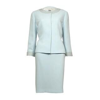 Tahari Women's Ralph Embellished Scoop Neck Crepe Skirt Suit
