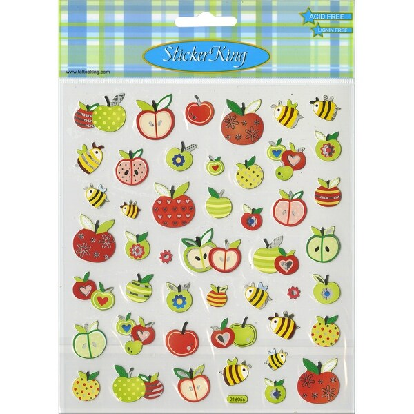 Multicolored Stickers-Honeybees & Apples