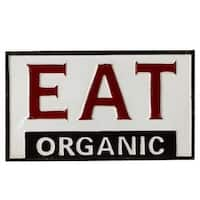 "Set of 3 Red and Black Decorative ""Eat Organic"" Rectangular Wall Decor 9"""