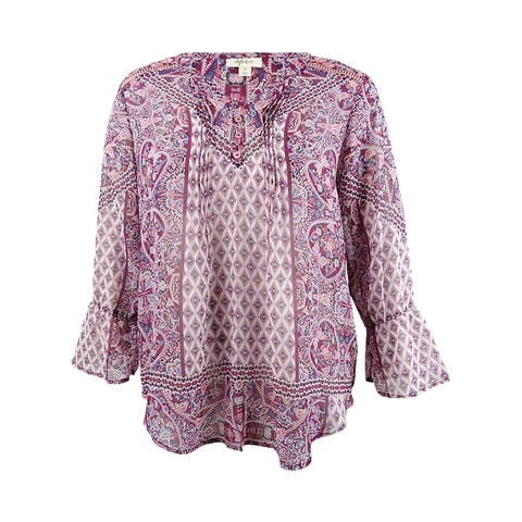 Style & Co. Women's Plus Size Mixed-Print V-Neck Peasant Top - Foulard Plum