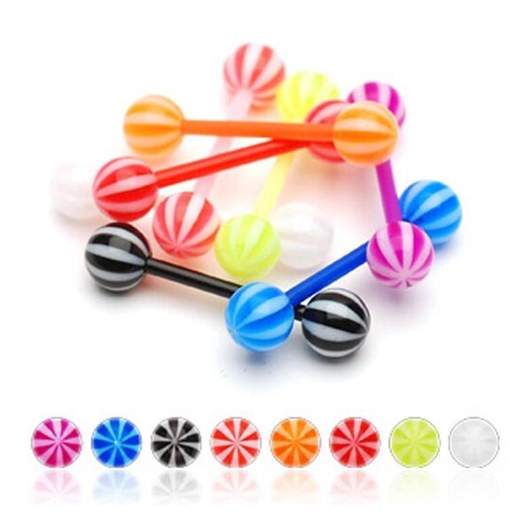 """Flexible Barbell with UV Candy Striped Balls - 14 GA 5/8"""" Long (6mm Ball) (Sold Ind.)"""