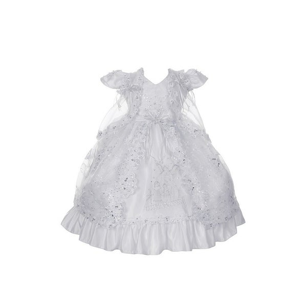 Rain Kids Little Girls White Angel Embroidered Baptism Cape Dress 2T-6 - 2t