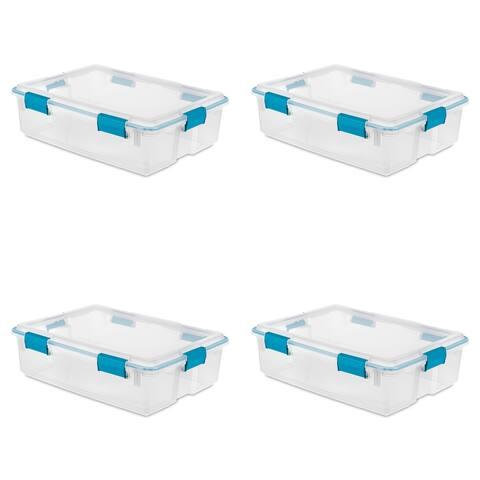 STERILITE 37 Quart Gasket Storage Boxes, Clear - Case of 4