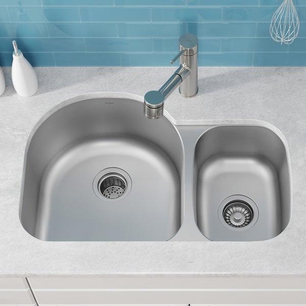 KRAUS Premier Stainless Steel 30 inch 2-Bowl Undermount Kitchen Sink. Opens flyout.