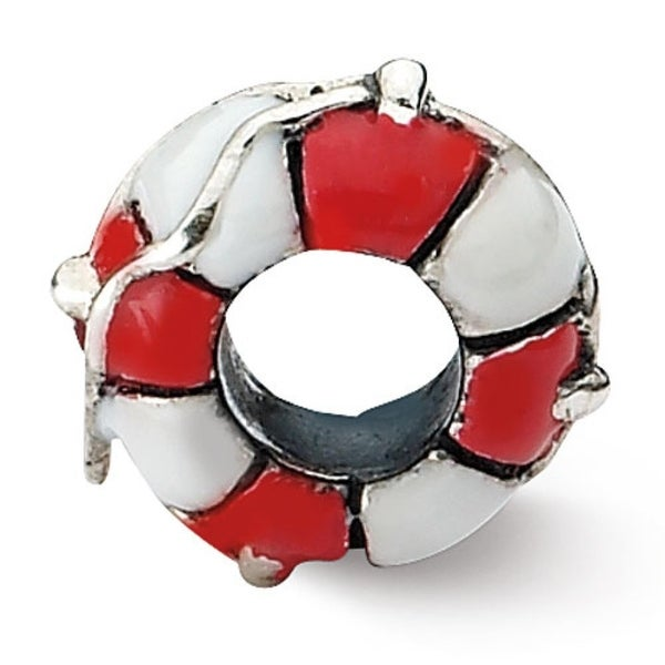 Sterling Silver Reflections Enameled Life Preserver Bead (4mm Diameter Hole)