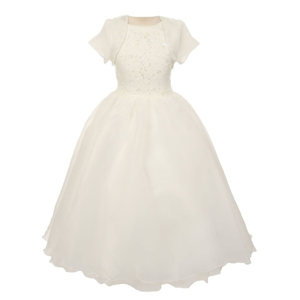 Chic Baby Girls Ivory Bead Sewn Satin Bolero Junior Bridesmaid Dress ...